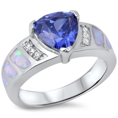 Trillion Cut Tanzanite White Opal /& Cz .925 Sterling Silver Ring sizes 6-9