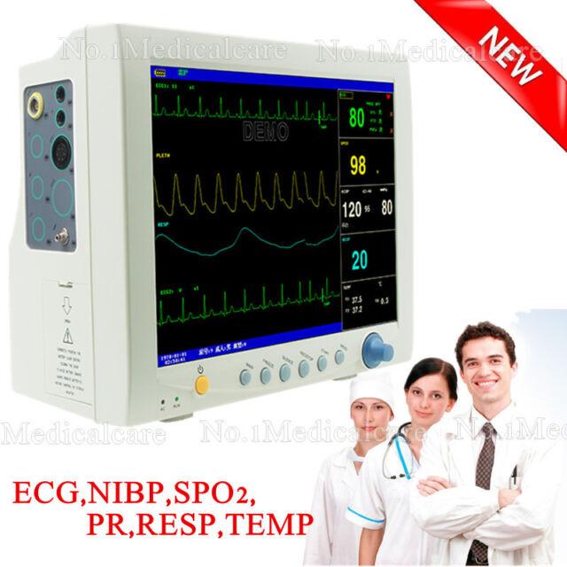 CE ICU Vital Sign Patient Monitor, ECG+NIBP+SPO2+PR+RESP+TEMP+Battery
