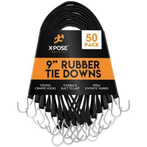 """18"""" Max Stretch Heavy-Duty Black Rubber Bungee Cords with Hooks 9 Inch"""