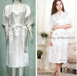 97f1ffb87c Details about Unisex Men s Sleepwear Women s Kimono Satin Silk Robe Solid  White L XL