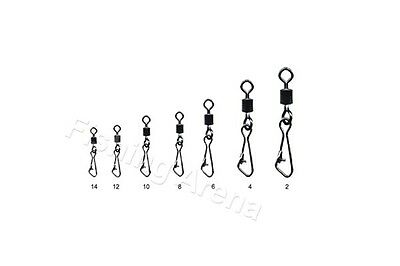 Rolling Swivels with Hook Snap-All Sizes Extra Strong 50 pcs.Spinning New