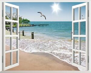 Sunshine-Beach-3D-Window-View-Removable-Wall-Art-Stickers-Vinyl-Decal-Home-Decor