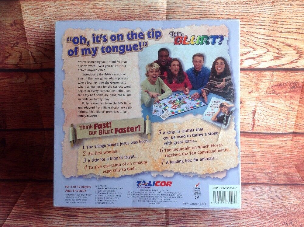 BIBLE BLIRT trivia Card Game Game Game EC COMPLETE 226856