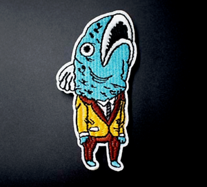 Anthropomorphic Fish Iron-On Patch Suit Smoking Jacket Bass Fisher Fisherman