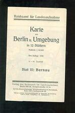 Reichsamt Karte von Berlin und Umgebung BERNAU 1922