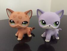 Littlest Pet Shop Cat #1120 Tan Leopard Spot #2094 Lavender Short Hair Green Eye