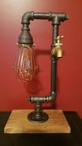 Retro Industrial Pipe Lamp with spigot, bulb cage and edison bulb