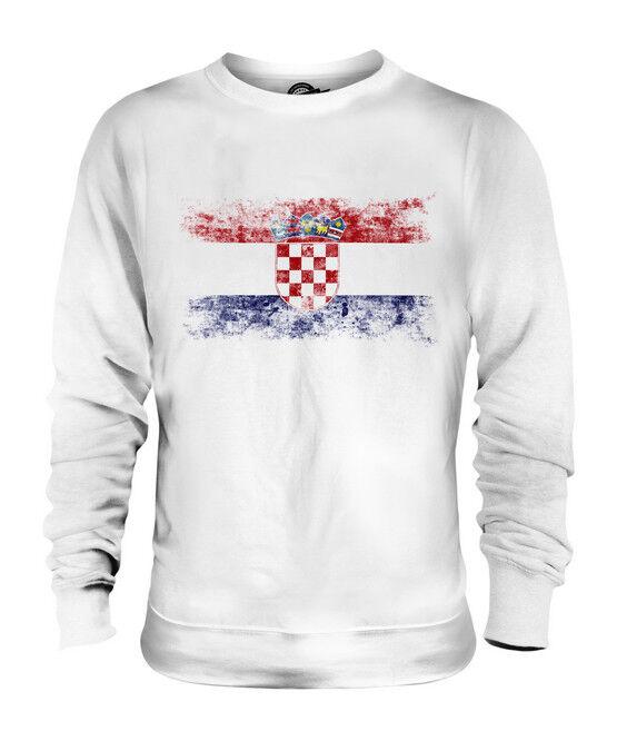 CROATIA DISTRESSED FLAG UNISEX SWEATER TOP HRVATSKA FOOTBALL CROATIAN GIFT SHIRT