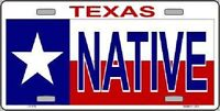 Native Texas Metal Novelty License Plate