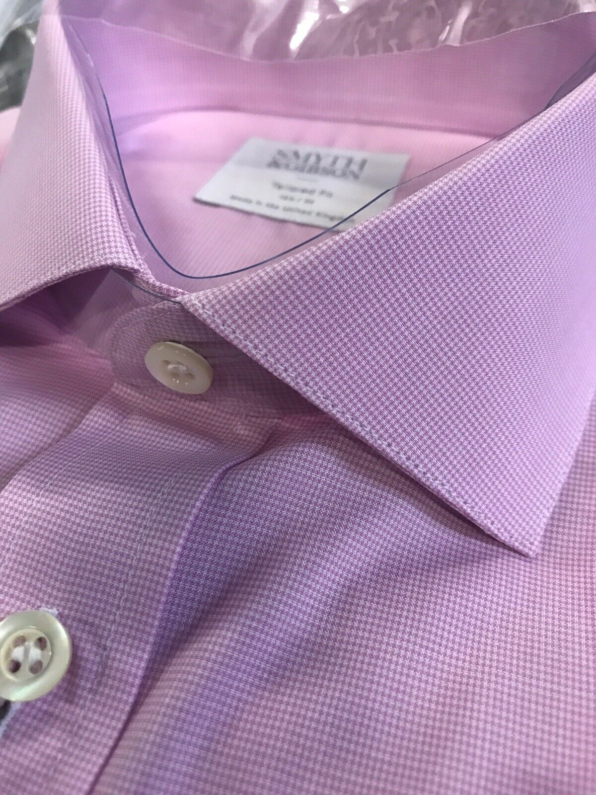 Smyth & Gibson hemd lila Micro Houndstooth 15.5 TailGoldt Fit UK Made