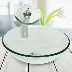 Bathroom-Tempered-Clear-Glass-Vessel-Sink-Basin-Bowl-Waterfall-Faucet-Drain-Set