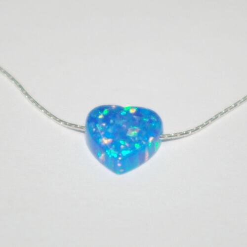 OPAL HEART Bead Charm LOTS Light Dark Green Light Dark Blue White