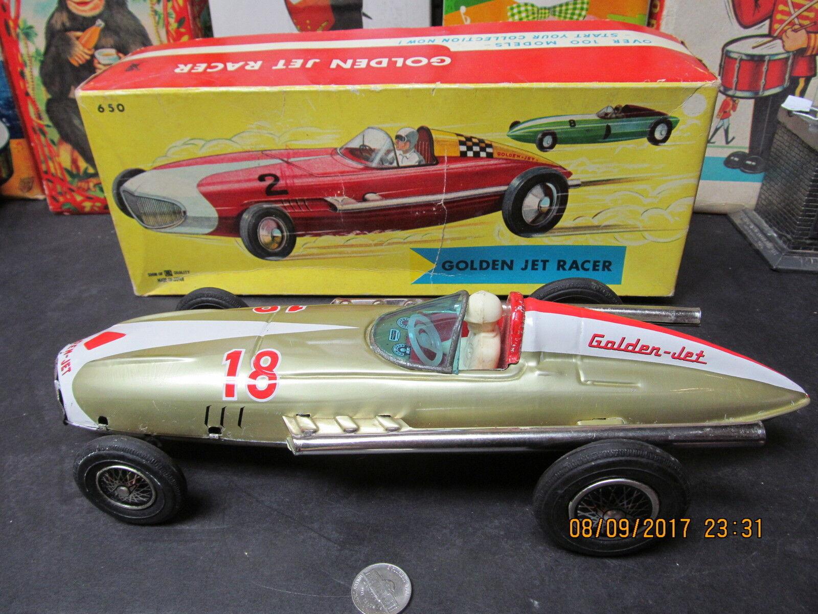 goldEN JET RACER IN BOX TIN FRICTION JAPAN NEAR MINT 1950's-60s