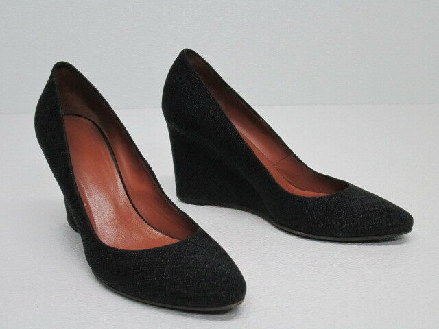 AQUATALIA MADE IN ITALY BLACK FABRIC LEATHER WEDGE PUMP Size WOMEN'S 9