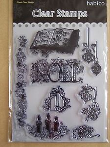HABICO-STAMPS-NEW-HABICO-CLEAR-XMAS-NOEL-CANDLES-BAUBLES-ETC-STAMPS