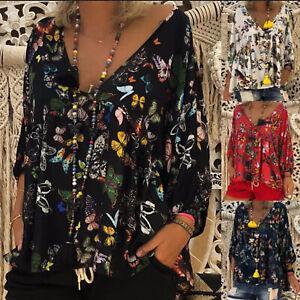 Plus-Size-Women-Floral-Print-V-Neck-Long-Sleeve-Tops-Blouse-Summer-Boho-T-Shirt