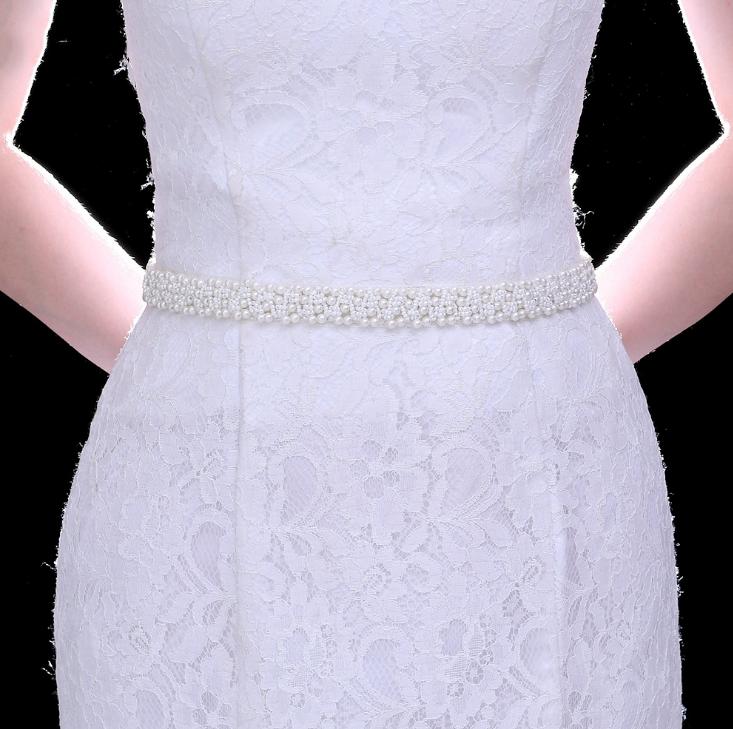 UK BRIDAL WEDDING SASH BELTS with Silk Ribbon Ivory Beaded Pearl Dress Waistband