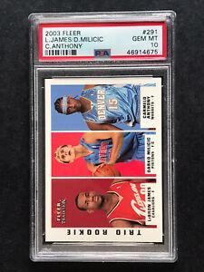 2003-Fleer-291-Lebron-James-Carmelo-Anthony-Rookie-RC-Basketball-Card-PSA-10