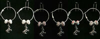 Hoop & Fish Hook Earrings With Horse With Saddle Charm & Crystal Beads