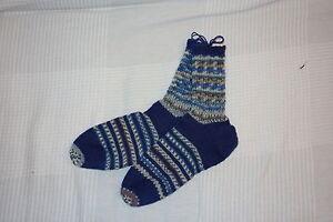 DéVoué Chaussettes Laine-tricot Chaussettes - 1 Paires De Chaussettes-à La Main-fußlänge 24cm Taille 36-38-afficher Le Titre D'origine