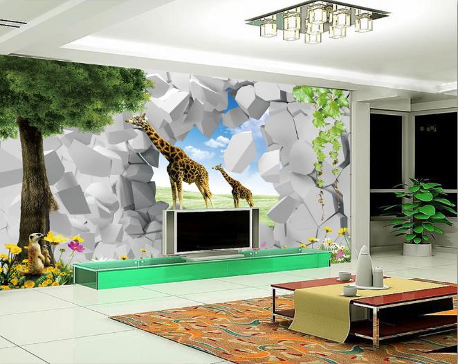 3D Grass Giraffe Wand 7854 Tapete Wandgemälde Tapeten Bild Familie DE Summer