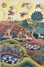 Elizabeth Turner Hand Painted Needlepoint Canvas Folk Art Large Design 22x33.5in