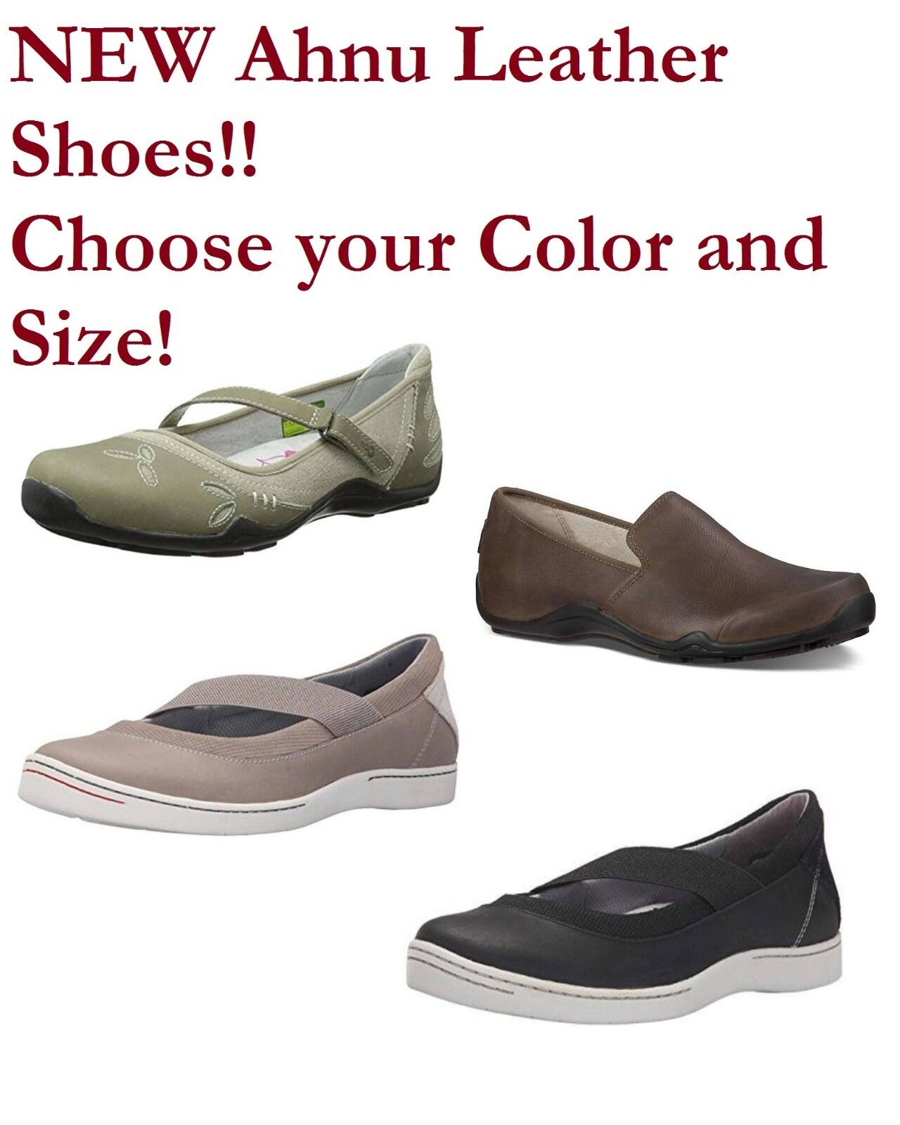 NEW Ahnu Womens shoes Black Taupe Brown Choose your size