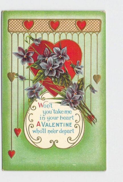 ANTIQUE POSTCARD VALENTINE HEARTS FORGET ME NOT ART NOUVEAU STYLE GOLD EMBOSSED