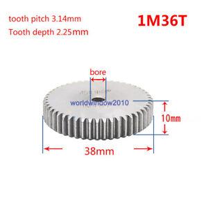 1 Mod 36T Spur Gear 45# Steel Motor Pinion Gear Thickness 10mm x 1Pcs 1Mod 36T