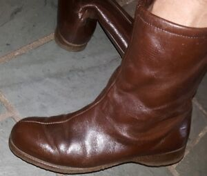 bd525cb5f61d5 Details about VINTAGE WOMENS HUSH PUPPIES Brown LEATHER ANKLE BOOTS SIZE 7  M FLEECE LINING..