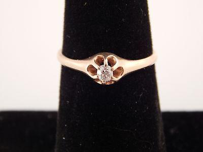 European Cut Diamond Ring .15 ct F/VS Art Deco Claw Mount Dainty 14k Estate