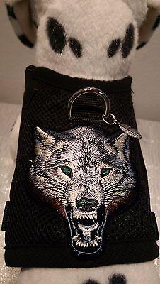 Hundegeschirr M, Brustgeschirr, Softgeschirr, Halsband, Schwarz Mesh Wolf