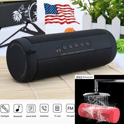 Portable Bluetooth Speaker Waterproof Sport FM Stereo Wireless LED Flashlight US
