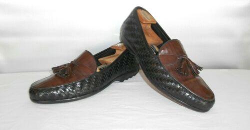 Men's Bragano Black Brown Dress Leather Weaved Loa
