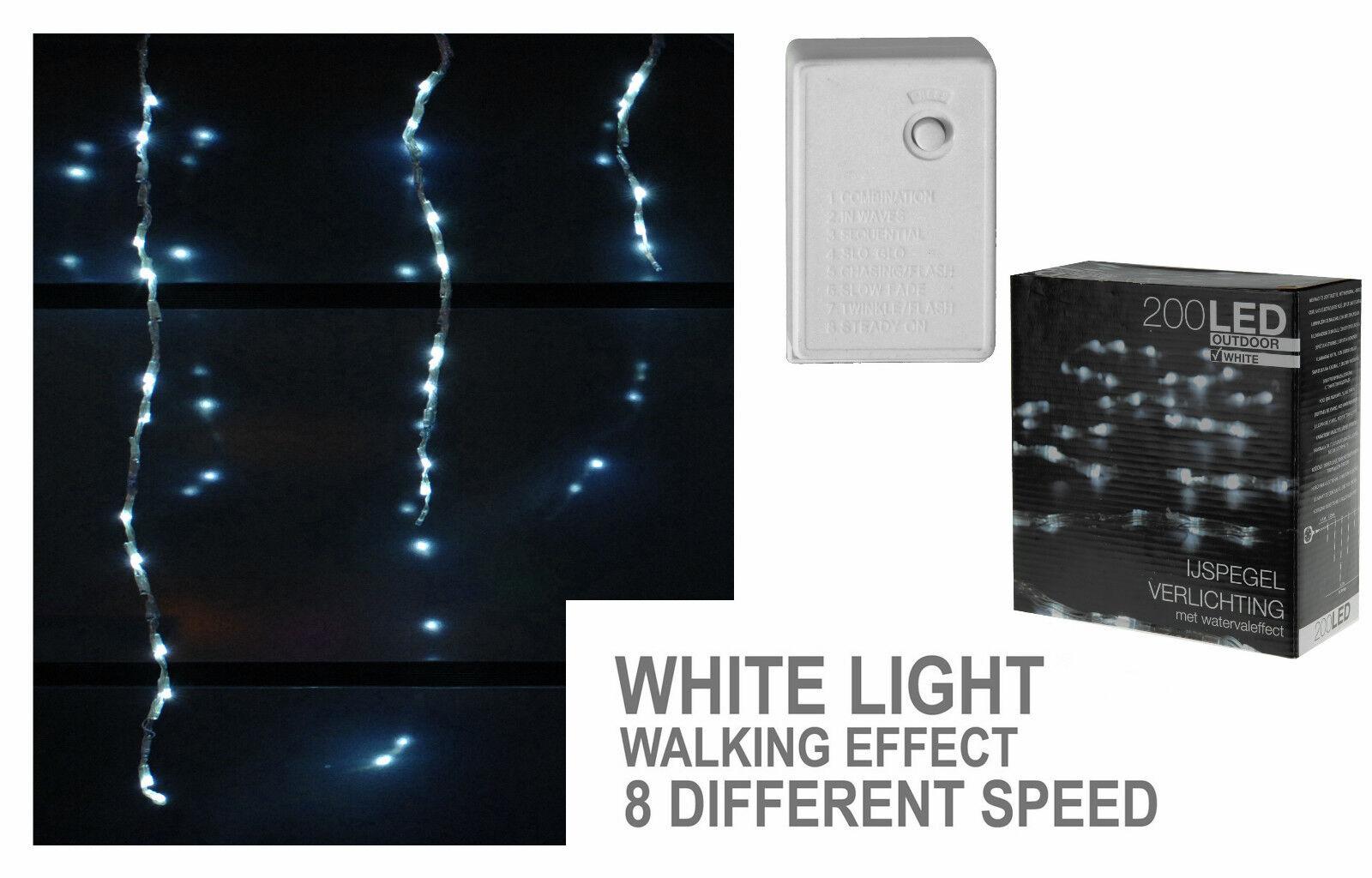 200 LED Lichterkette kalt weiß 8 Funktionen Weihnachten Wasserfall Effekt  | Hat einen langen Ruf