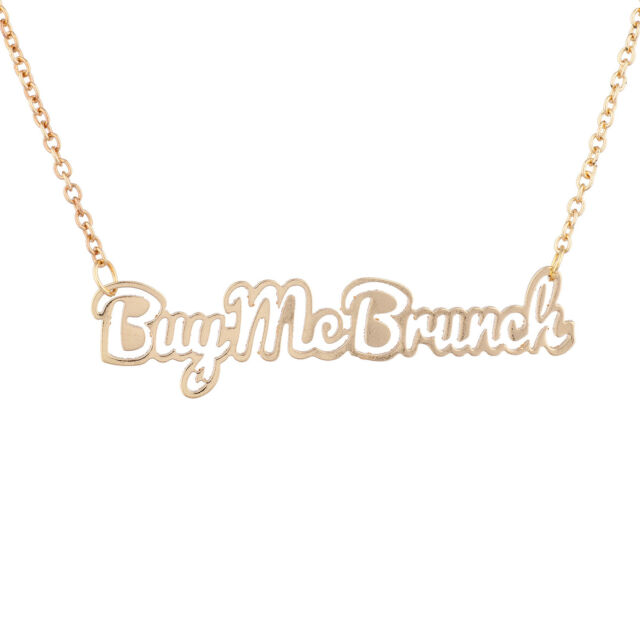 Lux Goldtone Live Fast Verbiage Necklace