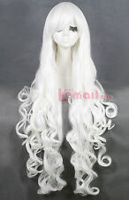 USA Ship! 100cm Long White wave curly womens Synthetic hair cosplay wig CB64-D
