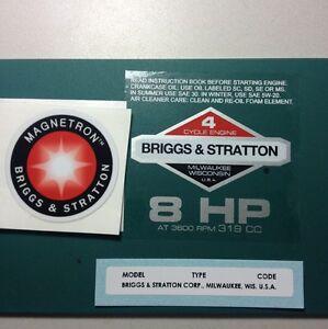 Briggs-amp-Stratton-8-hp-Sticker-Decal-Set-1981-1986-W-Magnetron-Troy-Bilt-Horse