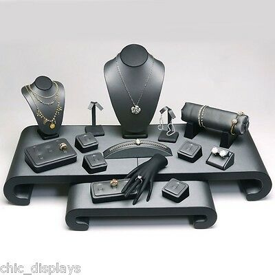 17 Pcs GREY & BLACK DISPLAY SET FAUX LEATHER JEWELRY SHOWCASE STAND RING DISPLAY