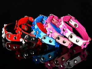 Lederhalsband-Flower-Blumen-Hundehalsband-Halsband-Leder-rot-schwarz-weiss-pink