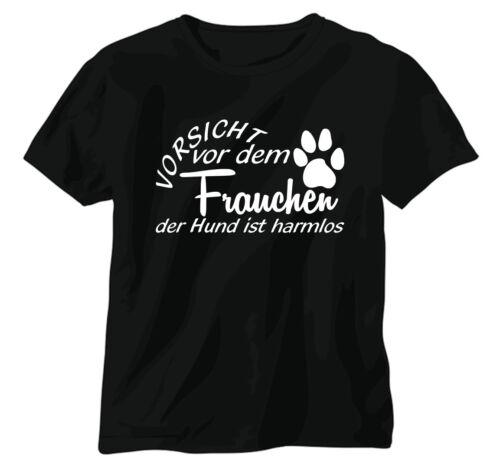 """T-Shirt Funshirt Shirt /""""Vorsicht vor dem Frauchen/"""" Pfote Hund Fun Gag Spruch FBI"""