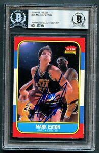 Mark-Eaton-28-signed-autograph-auto-1986-87-Fleer-Basketball-Card-BAS-Slabbed