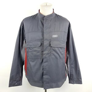 Audi-Arbeitsjacke-Herren-Gr-58-Grau-Rot-Werkstatt-Arbeitskleidung-Montage-Jacke