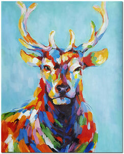 Details About Hand Painted Deer Buck Oil Painting Modern Imressionist Colorful Animal Art