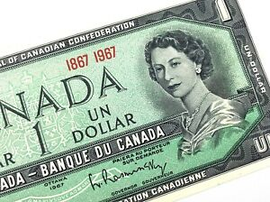 1967-Canada-One-1-Dollar-Centennial-Canadian-Uncirculated-Banknote-L918