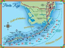 Map of the Florida Keys United States America Travel Advertisement Poster