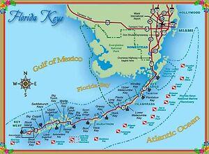 Florida Keys Map.Map Of The Florida Keys United States America Travel Advertisement