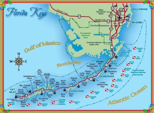 Map Of The Florida Keys United States America Travel Advertisement - Florida-us-map