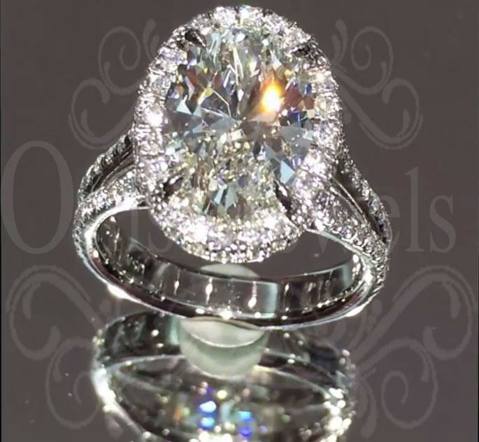 3.90Ct Oval Cut Brilliant Moissanite Unique Engagement Ring 10K Real White gold