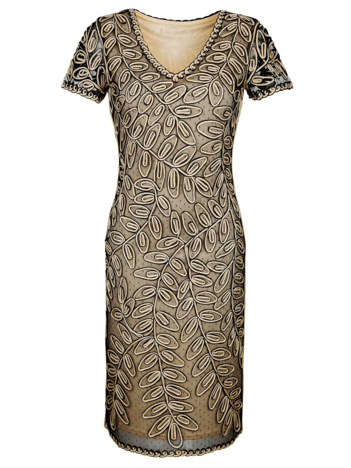 Marken Kleid mit Kurbelstickerei und Glanzeffekten Gr. 40, Gr. 42 0821606655
